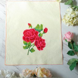Cross Stiched Rose Embroidery Art